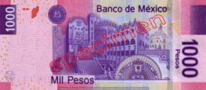 Billet 1000 Pesos Mexique MXN Type I verso