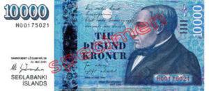 Billet 10000 Couronnes Islande ISK