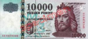 Billet 10000 Forint Hongrie HUF 1997 recto