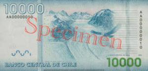 Billet 10000 Peso Chili CLP verso