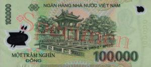 Billet 100000 Dong Vietnam VND verso