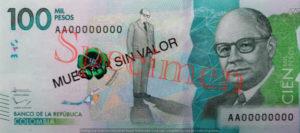 Billet 100000 Pesos Colombie COP 2014 recto