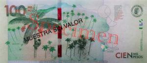 Billet 100000 Pesos Colombie COP 2014 verso