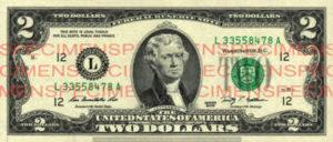 Billet 2 Dollars Etats-Unis USD