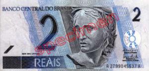 Billet 2 Real Bresil BRL Serie I recto