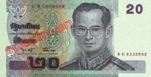 Billet 20 Baht Thailande THB XV recto