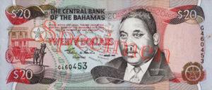 Billet 20 Dollar Bahamas BSD 1997 recto