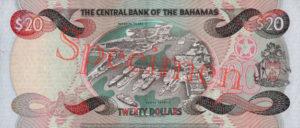 Billet 20 Dollar Bahamas BSD 1997 verso