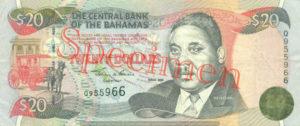 Billet 20 Dollar Bahamas BSD 2000 recto