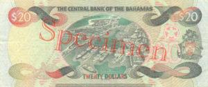 Billet 20 Dollar Bahamas BSD 2000 verso