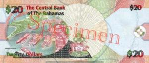 Billet 20 Dollar Bahamas BSD 2006 verso
