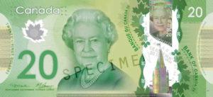 Billet 20 Dollars Canada CAD recto