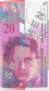 Billet 20 Francs CHF Suisse