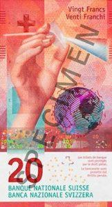 Billet 20 Francs Suisse CHF 2017