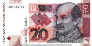 Billet 20 Kuna Croatie HRK recto