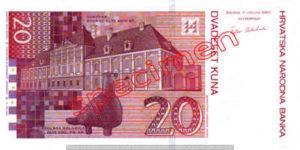 Billet 20 Kuna Croatie HRK verso