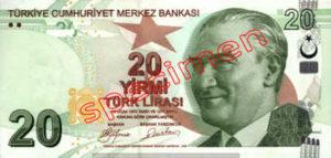 Billet 20 Livre Turquie TRY recto