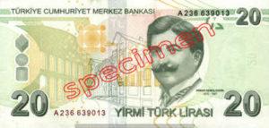 Billet 20 Livre Turquie TRY verso