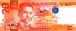 Billet 20 Peso Philippines PHP recto