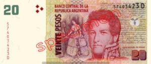 Billet 20 Pesos Argentine ARS Type I recto