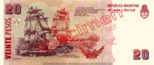 Billet 20 Pesos Argentine ARS Type I verso