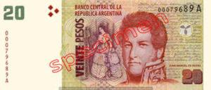 Billet 20 Pesos Argentine ARS Type II recto