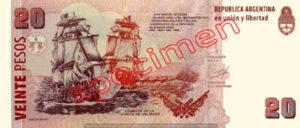 Billet 20 Pesos Argentine ARS Type II verso