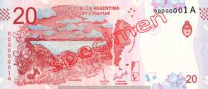 Billet 20 Pesos Argentine ARS Type III verso