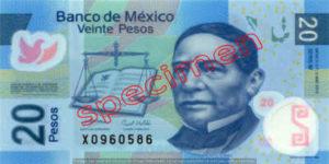 Billet 20 Pesos Mexique MXN Type I recto