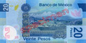 Billet 20 Pesos Mexique MXN Type I verso