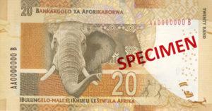 Billet 20 Rand Sud-Afrique ZAR verso