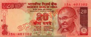 Billet 20 Roupie Inde INR