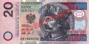 Billet 20 Zloty Pologne PLN Type I recto