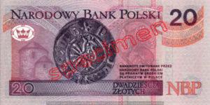 Billet 20 Zloty Pologne PLN Type I verso