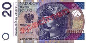 Billet 20 Zloty Pologne PLN Type II recto