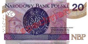 Billet 20 Zloty Pologne PLN Type II verso