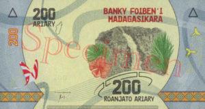 Billet 200 Ariary Madagascar MGA 2017 verso