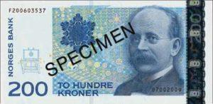 Billet 200 Couronnes Norvège NOK Serie VII recto
