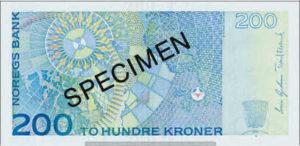 Billet 200 Couronnes Norvège NOK Serie VII verso