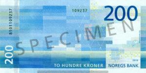 Billet 200 Couronne Norvégienne NOK Serie VIII verso