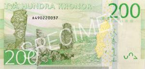 Billet 200 Couronnes Suede SEK verso