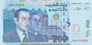 Billet 200 Dirhams Maroc MAD 2002 recto