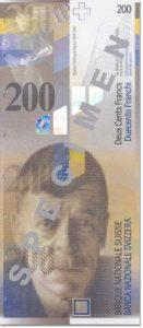 Billet 200 Francs CHF Suisse