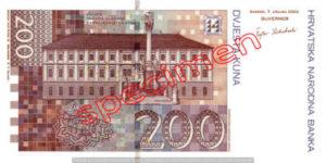 Billet 200 Kuna Croatie HRK verso