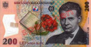 Billet 200 Lei Roumanie RON recto