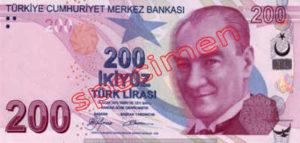 Billet 200 Livre Turquie TRY recto