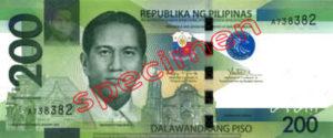Billet 200 Peso Philippines PHP recto