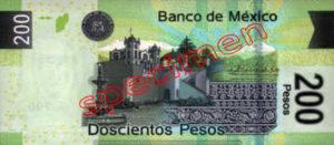 Billet 200 Pesos Mexique MXN Type I verso