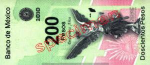 Billet 200 Pesos Mexique MXN Type II verso