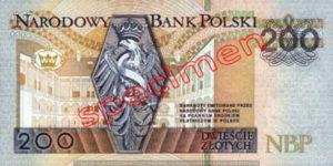 Billet 200 Zloty Pologne PLN Type I verso